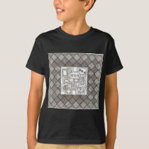 Melange-Abstract Geometric Doodle Pattern T-Shirt