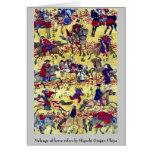 Melange of horse riders by Higuchi Ginjiro Ukiyo Stationery Note Card