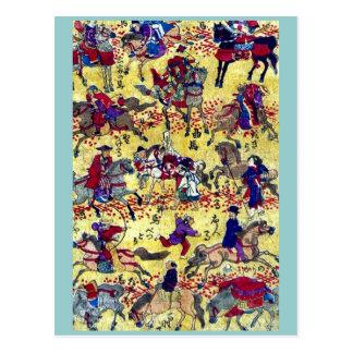 Melange of horse riders by Higuchi Ginjiro Ukiyo Post Cards