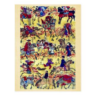 Melange of horse riders by Higuchi Ginjiro Ukiyo Postcards