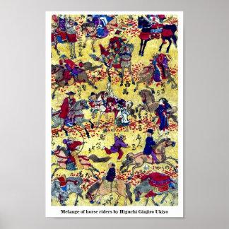 Melange of horse riders by Higuchi Ginjiro Ukiyo Poster