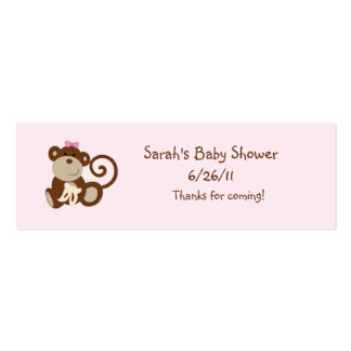 Melanie Monkey Girl Favor/Tags Double-Sided Mini Business Cards (Pack Of 20)