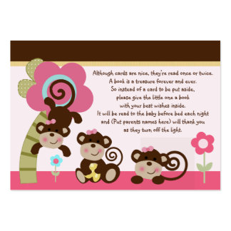 Melanie Monkey Girl Favor/Tags So Cute! Large Business Cards (Pack Of 100)