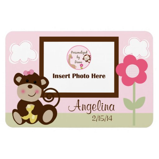 Melanie Monkey Girl Personalized Photo Magnet
