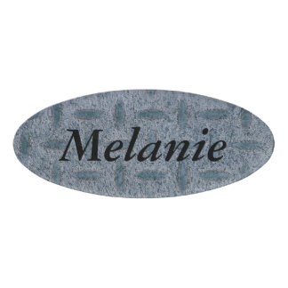 Melanie name tag with checker plate background