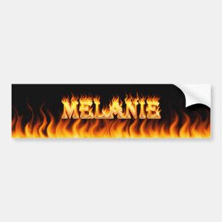Melanie real fire and flames bumper sticker design car bumper sticker