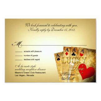 Melanie & Scott Las Vegas All In RSVP 5x3.5 3.5x5 Paper Invitation Card