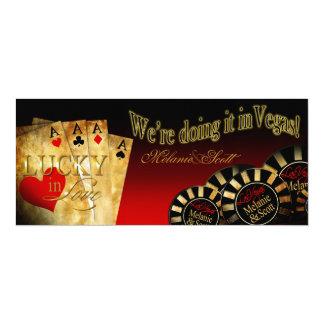 "Melanie & Scott Las Vegas Red Black Gold LINEN 4"" X 9.25"" Invitation Card"