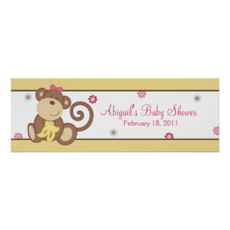 Melanie the Monkey Baby Shower Banner Posters