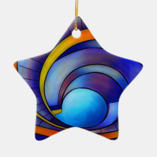 Melanissia - abstract moonrise ceramic ornament