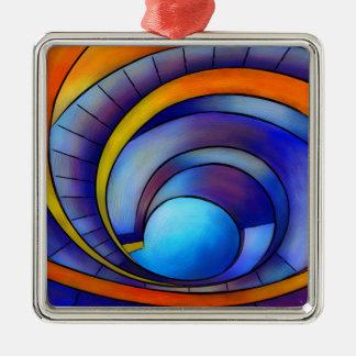 Melanissia - abstract moonrise metal ornament