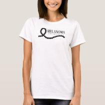 Melanoma Awareness Black Beaded Ribbon T-Shirt