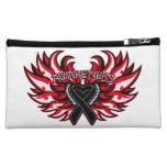 Melanoma Awareness Heart Wings Cosmetic Bags