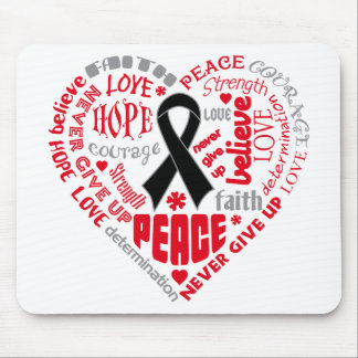 Melanoma Awareness Heart Words Mousepads