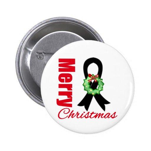 Melanoma Awareness Merry Christmas Ribbon 2 Inch Round Button