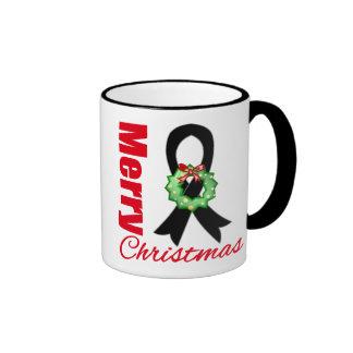 Melanoma Awareness Merry Christmas Ribbon Mugs