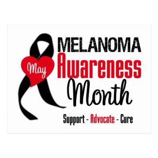 Melanoma Awareness Month Grunge Ribbon Postcard