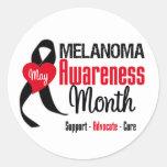 Melanoma Awareness Month Grunge Ribbon Classic Round Sticker