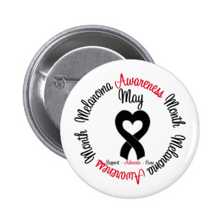 Melanoma Awareness Month Heart Ribbon Button