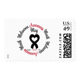 Melanoma Awareness Month Heart Ribbon Postage