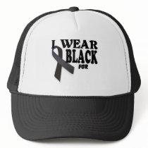 Melanoma Awareness Ribbon I wear Black for logo. Trucker Hat
