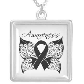 Melanoma Awareness Tattoo Butterfly Square Pendant Necklace