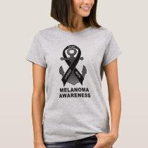Melanoma Awareness: with Ribbon and Anchor of Hope T-Shirt