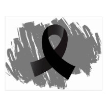 Melanoma Black Ribbon With Scribble Postcard