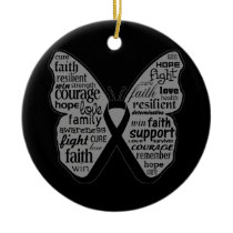 Melanoma Butterfly Collage of Words Double-Sided Ceramic Round Christmas Ornament