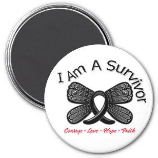 Melanoma Butterfly I Am A Survivor 3 Inch Round Magnet