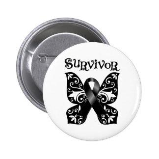 Melanoma Butterfly Survivor 2 Inch Round Button