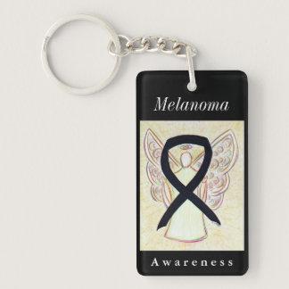 Melanoma Cancer Awareness Ribbon Angel Keychain