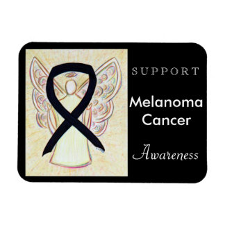 Melanoma Cancer Awareness Ribbon Angel Magnet Rectangular Photo Magnet