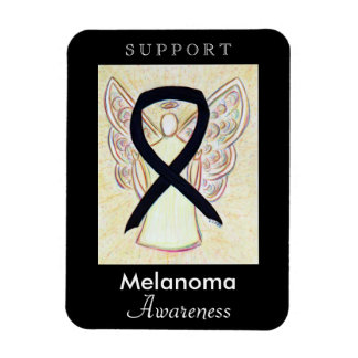 Melanoma Cancer Awareness Ribbon Angel Magnets