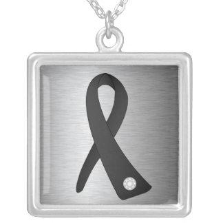 Melanoma Cancer Awareness Ribbon Square Pendant Necklace