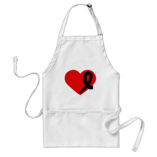 Melanoma Cancer Black Ribbon Red Heart apron