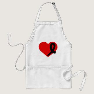 Melanoma Cancer Black Ribbon Red Heart apron