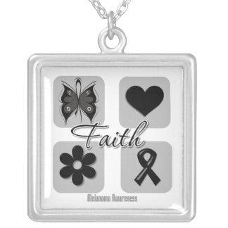 Melanoma Cancer Faith Inspirations Square Pendant Necklace