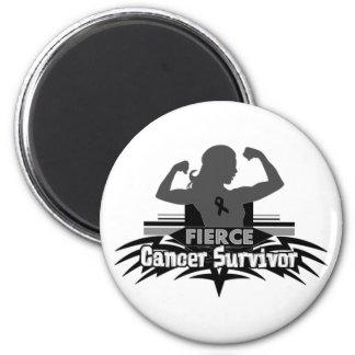 Melanoma Cancer Fierce Cancer Survivor 2 Inch Round Magnet