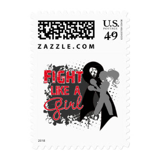 Melanoma Cancer Fight Like A Girl Grunge Postage Stamps
