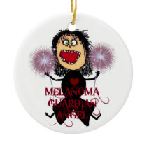 Melanoma Cancer Guardian Angel Ceramic Ornament