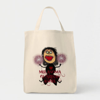 Melanoma Cancer Guardian Angel Grocery Tote Bag