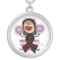 Melanoma Cancer Guardian Angel Silver Plated Necklace