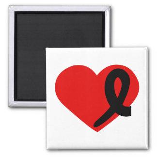 Melanoma Cancer Heart black ribbon square magnet