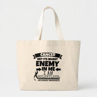 Melanoma Cancer Met Its Worst Enemy in Me Large Tote Bag