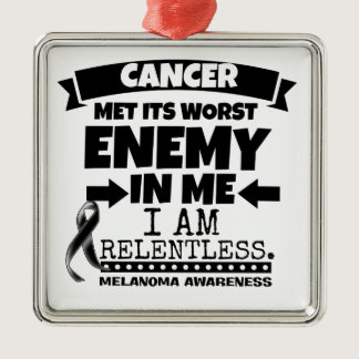 Melanoma Cancer Met Its Worst Enemy in Me Metal Ornament