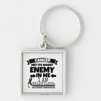Melanoma Cancer Met Its Worst Enemy in Me Silver-Colored Square Keychain
