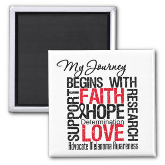 Melanoma Cancer My Journey Begins With FAITH 2 Inch Square Magnet