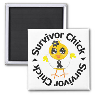 Melanoma Cancer Survivor Chick 2 Inch Square Magnet