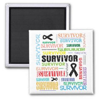 Melanoma Cancer Survivor Collage.png 2 Inch Square Magnet
